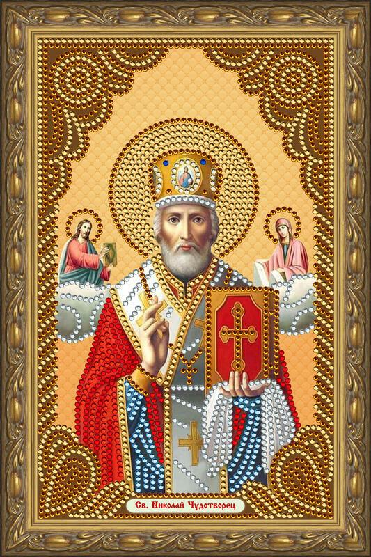 Алмазная вышивка частичная 20x30 Святой Николай  Чудотворец
