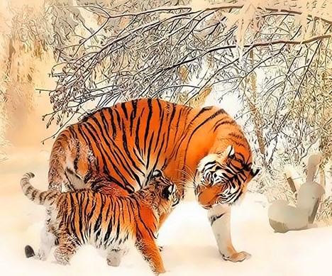 Картина по номерам 40x50 Тигрица с тигрёнком и зимний лес