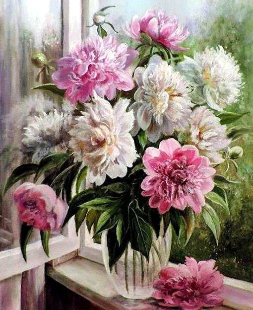Картина по номерам 40x50 Пионы в прозрачной вазе у окна